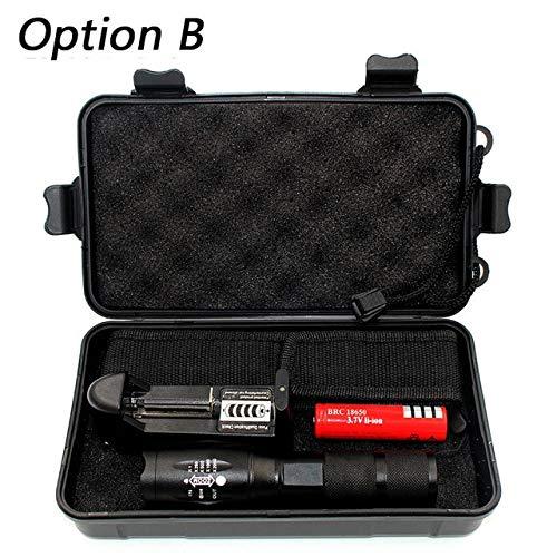 Option B, Chine, T6 : puce LED L2 5000lm en alliage d'aluminium zoomable 5 interrupteurs modèle en option chargeur de batterie boîte à outils
