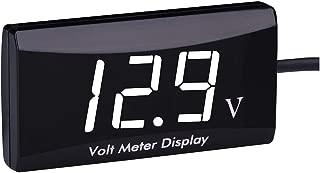 12 Volt Digital Voltage Meter Voltmeter Battery Indicator Gauge LED Display for Motorcycle EZGO Club Car Yamaha Golf Cart (White)