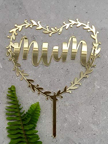 Mama Herz Halo Acryl Gold Spiegel Muttertag Cake Topper