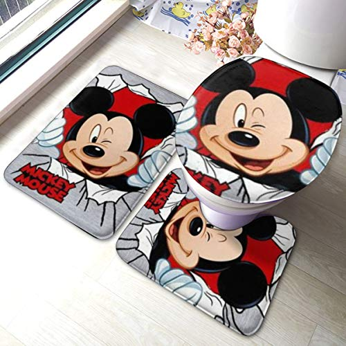JingzHID Mickey Mouse Minnie Tapis de salle de bain 3 pièces Doux Antidérapant Absorbant Tapis de salle de bain Tapis de bain Tapis de contour en U Tapis Filoor et Housse de WC
