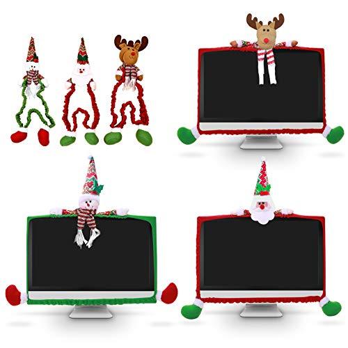 LYFETC 3er Pack Weihnachts Monitorabdeckung 3D Schneemann, Elch, Weihnachtsmann Dekorative Weihnachten Elastisch verstellbare Computer Monitor Abdeckung für Weihnachten Büro Weihnachten Comput