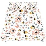 ASIGA Juego de funda de edredón de 3 piezas, diseño de hojas de abejas, para mujer, hombre, dormitorio, ropa de cama