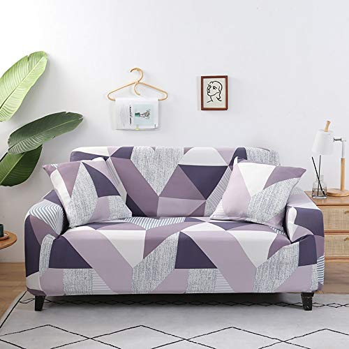 ASCV Fundas Protectoras de sofá geométricas Sala de Estar Funda elástica elástica Fundas de sofá seccionales de Esquina A7 1 Plaza