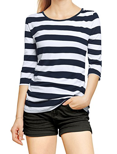 Allegra K Women's Elbow Sleeves Round Neck Tops Basic Casual Striped Tee Shirt X-Large White Dark Blue