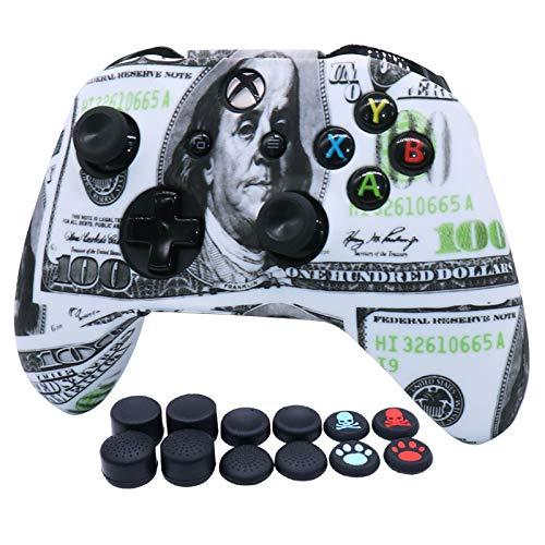 RALAN Controller-Abdeckung aus Silikon, Silikon, kompatibel mit Xbox Ones Controller (Schwarz Pro Daumengriff x 8, Katze + Totenkopf-Abdeckung x 2) (Dollar)