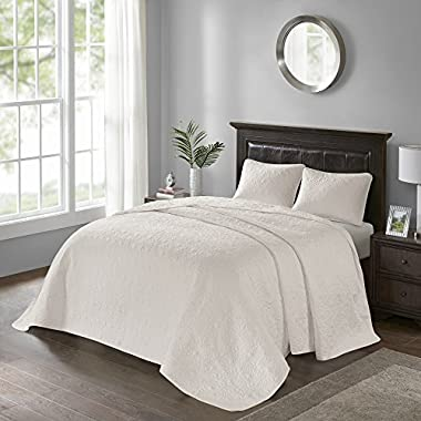 Madison Park Quebec King Size Quilt Bedding Set - Ivory, Damask – 3 Piece Bedding Quilt Coverlets – Ultra Soft Microfiber Bed Quilts Quilted Coverlet