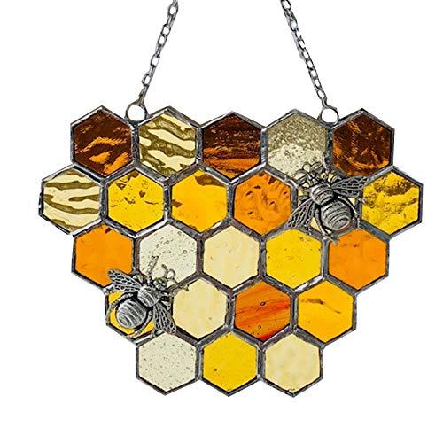 Queen&Bee Protect Honey Suncatcher - Bee Suncatcher, Bumble Bee Honeycomb Sun Catcher, Bee Suncatchers for Windows, Wall Hanging Ornament Bumblebee Art Decoration, Bee Decor