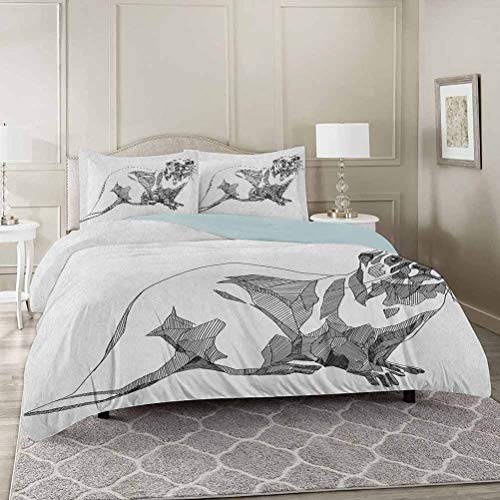 YUAZHOQI Black and White Duvet Cover Set Twin, Sketch Otter Monochrome with Line Art Inspirations Animal Illustration Decorative 3 Piece Bedding Set with 2 Pillow Shams