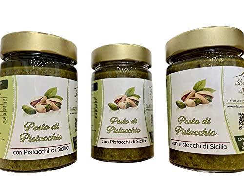 Pesto Al Pistacchio Sicilia 190gm Confezione da 3pz, Prodotto in Sicilia, Ottimo Condimento per Pasta, Carne e Pesce. la confezione contiene un omaggio a sorpresa