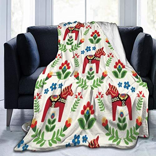 Bernice Winifred Sueco Dala Horses Red Ultra-Soft Micro Fleece Blanket Hecho de Franela Anti-Pilling, más cómoda y cálida.50x40