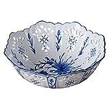 B-fengliu Bandejas de fruta, azul y blanca pintada a mano de porcelana frutos secos de la placa del caramelo Snack-placa de cerámica Snack-Cuenco de la flor de la vendimia postre ensalada de frutas se