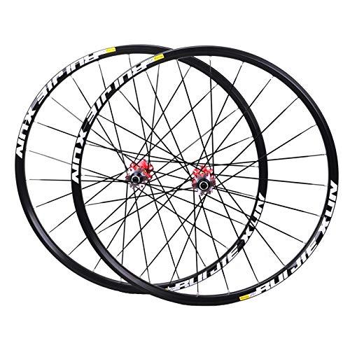 MZPWJD MTB Rueda Bicicleta 26' 27.5' 29in Freno Disco Bujes Fibra Carbono Llantas Bicicleta Montaña Juego Ruedas Rodamiento Sellado para CROSSRIDE (Color : Red hub, Size : 29inch)