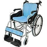 ケアテックジャパン 自走式 アルミ製 折りたたみ 車椅子 ハピネス ライトブルー CA-10SU