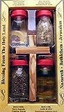 Tierra Santa souvenir 4botella Conjunto con una cruz de olivo, hecho a mano. Todos los incluyen Tierra Santa de Jerusalén, Sagrada Aceite de Oliva de agua de Belén, Holy el Río Jordania y Incienso de la holyland
