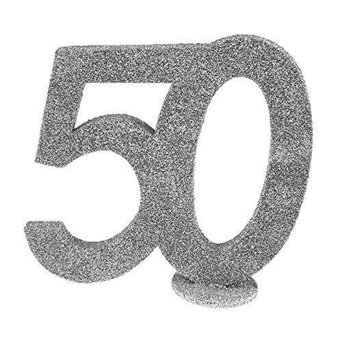 SANTEX 4752-50, Chiffre Anniversaire vertical déco, 50 ans Argent