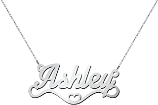 Silver Heart Name Necklace by JEWLR