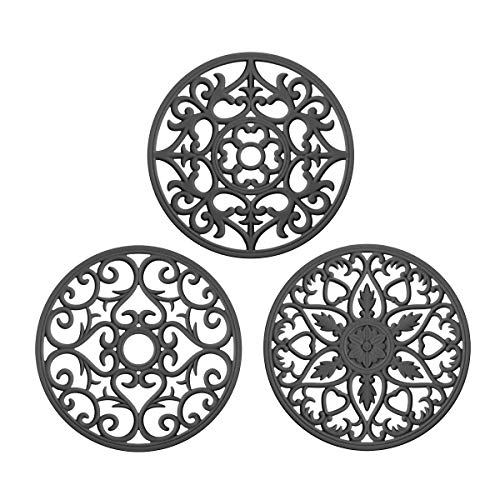 ME.FAN 3 Set Silicone Multi-Use Intricately Carved Trivet Mat - Insulated Flexible Durable Non Slip Coasters (Gray)