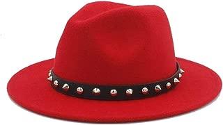 WUNONG-AU Men's and Women's Authentic Western Cowboy hat, Fashion hat Leather Belt Cap, Jazz hat, roll-up hat, Wide hat, Jazz hat (Color : Red, Size : 56-58)