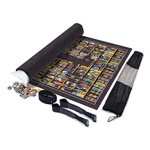 Fun-PT Roll-Puzzle-Matte Faltbare Jigroll Puzzle Lagerung Filzmatte 1000 2000 6000 Stück, großer 190 * 130cm Dicke Decke Schutzpolster Grau, beweglicher aufblasbarer Kern (Color : Dark Gray)