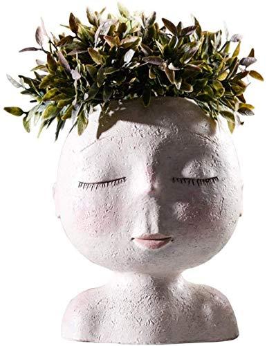 Pkfinrd Statue-sculptuur versiering Nordic menselijk hoofd vaas bloempot pop vorm sculptuur hars portretbloempot kunst vaas wooncultuur succculents hoofdvorm vaas