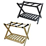 Casual Home Luggage Rack with Shelf, Natural and Espresso Each