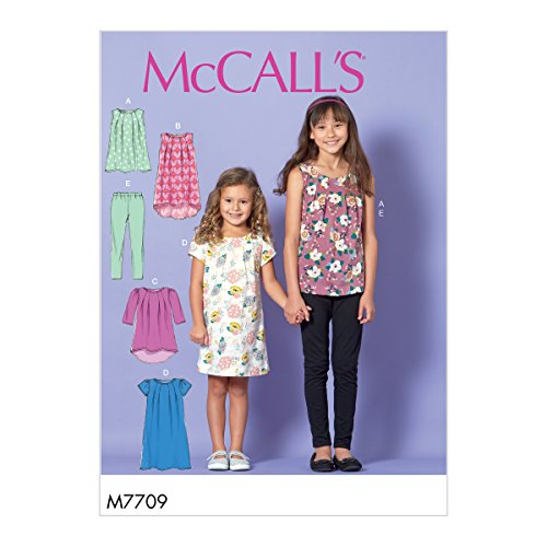 Mccall's Patronen 7709 CHJ, Kind/Meisjes Tops, Jurken en Leggings, Maten 7-14, Tissue, Multi-Colour, 17 x 0.5 x 0.07 cm
