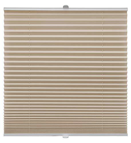 Plissee auf Maß für alle Fenster Montage Glasleiste Blickdicht mit Spannschuh Sonnenschutzrollo Beige Breite: 71-80 cm, Höhe: 101-150 cm