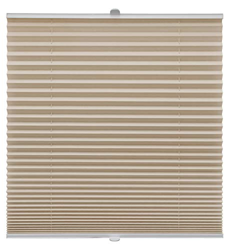 Plissee auf Maß verschiedene Farben alle Fenster Montage Glasleiste Blickdicht mit Spannschuh Sonnenschutzrollo Fensterrollo Plissee Beige Breite: 41-50 cm, Höhe: 101-150 cm