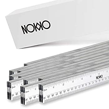 NOKKO Clear Plastic Rulers Bulk 50 Piece Pack - Transparent 12 Inch / 30 Centimeter Ruler Class Set - Easy to Read School and Office Supplies for Kids Students Teachers and Artists