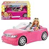 Barbie Voiture Cabriolet Rose, décapotable avec deux sièges noirs, ceintures et rétroviseurs argentés, poupée incluse, jouet pour enfant, FPR57