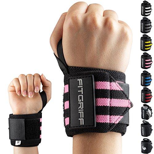 Fitgriff® Polsiere Palestra - Professionali Fasce da Polso - Donna & Uomo - Polsini Palestra, Gym, Bodybuilding, Crossfit, Calistenics, per Sollevamento Grossi Pesi - Black/Pink
