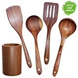 GEEKHOM Wooden Utensils, Large Teak Wood Kitchen Cooking Utensils Set with Holder for Non Stick Cookware, Wooden Spatula Ladle Spoon for Cooking, 5 Pieces