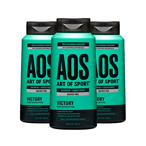 Art of Sport Men's Shampoo and Conditioner (3-Pack) - Victory Scent - Sulfate Free Shampoo and Conditioner 2-in-1 with Natural Botanicals - Deep Cleanses Hair and Fights Dry Scalp - 13.5 fl oz