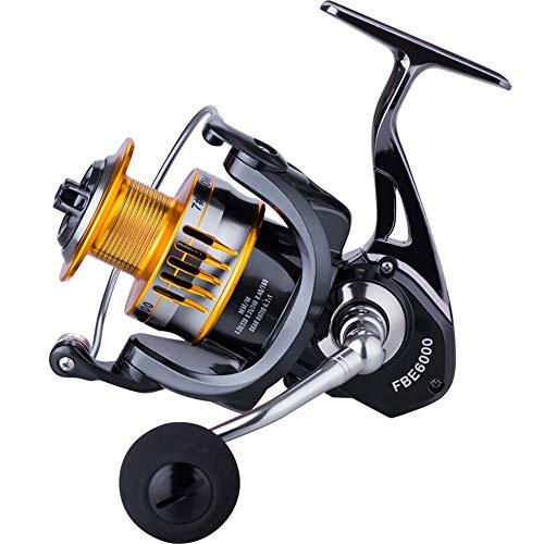 Haihui Carrete de pesca, carrete giratorio, herramientas de pesca, equipo de bobina, portátil, duradero, práctico, aleación negra 17 + 1BB