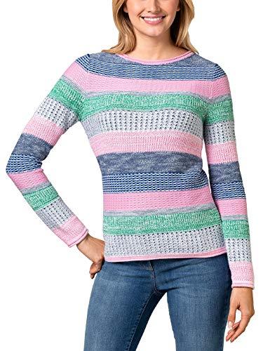 Walbusch Damen Pullover Quattro Colori gestreift Grün/Softpink gestreift 42