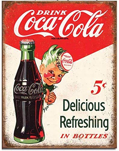 Ufcell 8x12 Vintage Retro Metal Tin Sign Drink Coke Coca Cola 5 Cents Home Look Wall Decor