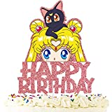 Anime Cake Topper Happy Birthday Cartoon Theme Pink Glitter Decor Birthday Party Decorations Supplies