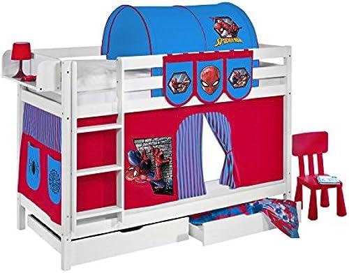 Etagenbett JELLE 90 x 190 cm Spiderman - Spielbett LILOKIDS - Weiß - mit Vorhang und Lattenroste