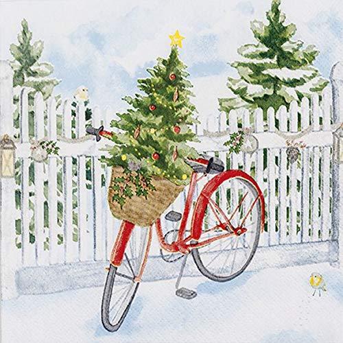 AvanCarte Servietten Weihnachten Winter Fahrrad Tannenbaum 20 St 3-lagig 33x33cm