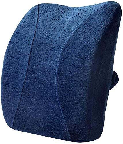 FLYAND Soft Memory Foam Waist Lumbar Support Pillow Spine Car Seat Office Sofa Pillow Back Cushion, Waist Rest Cushion (Color : Blue, Size : 43 35 8cm) (Color : Blue, Size : 43358cm)