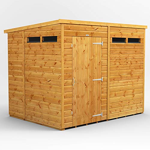 POWER | 8x6 Pent Security Wooden Garden Shed | Size 8 x 6 | Secure Sheds with super fast delivery