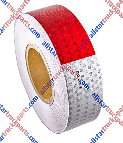 "[ALL STAR TRUCK PARTS] Conspicuity Tape DOT-C2 Approved Reflective Truck Trailer Red White 2""x150' -1 Roll"