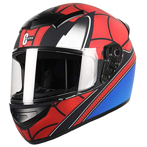 Dajie Casco modular de moto Crash, Spider Off-Road Casco Flip Up de cara completa, certificado DOT/ECE, rojo araña, XXXL