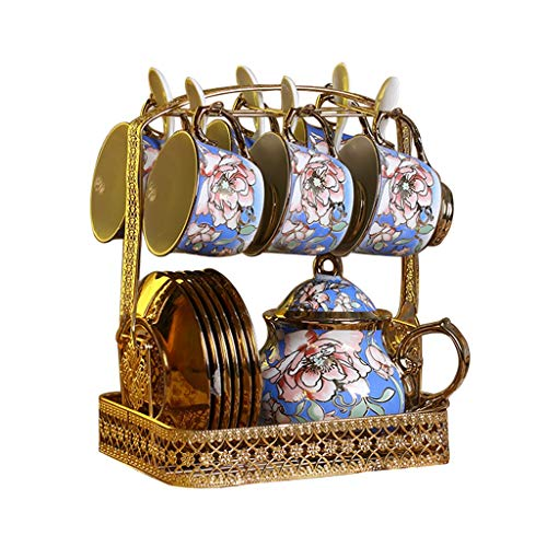 Latte Art Cup English 14-Piece Porcelain Ceramic Tea Sets, Cups& Saucer Service for 6, Teapot, Saucer Metal Storage Rack and Teaspoons, European Ceramics Household Afternoon Tea Set Coffeezone