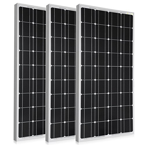 PowerECO 3pcs 100W Equal to 300W Mono Solar Panel, Photovoltaic Panel for 12 Voltage Battery Charging, Compact Design (300W)
