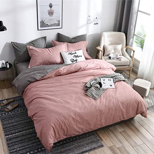 Boqingzhu Bettwäsche 220 x 240cm Rosa Altrosa Grau Anthrazit Microfaser Wendebettwäsche Set Uni Doppelbett Bettbezug mit Reißverschluss und 2 Kissenbezüge 80 x 80 cm