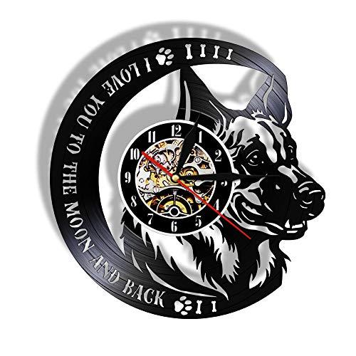 Relojes de Pared Lindo, Perro policía Disco de Vinilo Retro Pegatina Pared Modernos DIY de Adhesivo de Etiqueta de Decoración llenado Vacía 12 Pulgada(Sin Luces)