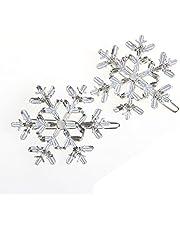 niumanery New 2Pc Snowflake Women's Crystal Rhinestone Hair Pin Clips Barrette Hairpins