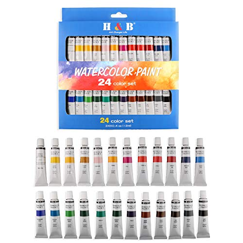 H & B 24 Colors Watercolor Paint Set, Aluminum Tubes 12ml,Professional Art Painting Watercolor Paint, Non Toxic & Safe, Premium Quality Painting Kit. Rich Pigments Lasting Quality for Beginners, Students & Professional Artist