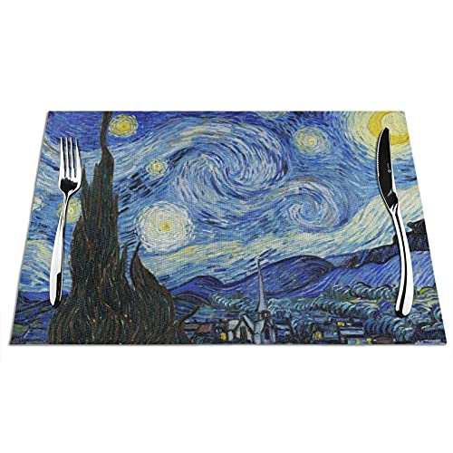 KPJDWEDS Starry Sky Pattern Placemats, Washable Easy to Clean, Heat Resistant Stain Anti-Skid PVC Placemats, Woven Vinyl Table Mats for Kitchen Dining Table 12 X 18 Inch(Set of 6)